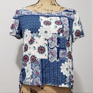 {Hollister} Floral Paisley Print Crop Tee
